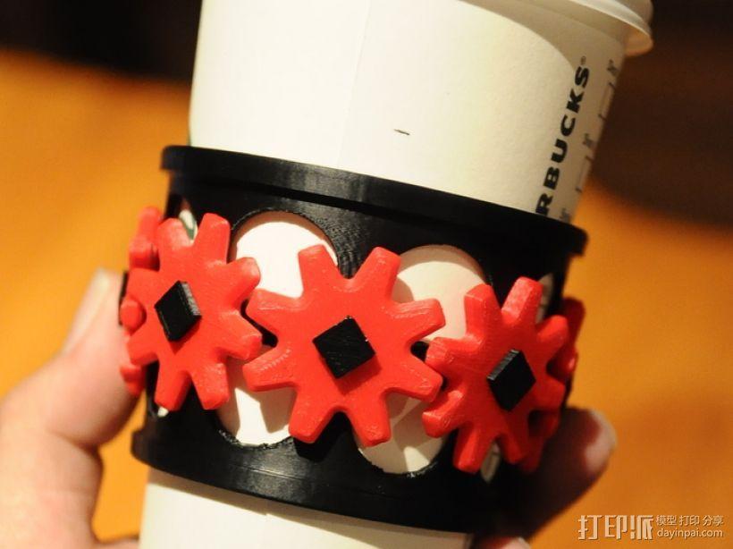 齿轮咖啡杯套 3D模型  图1