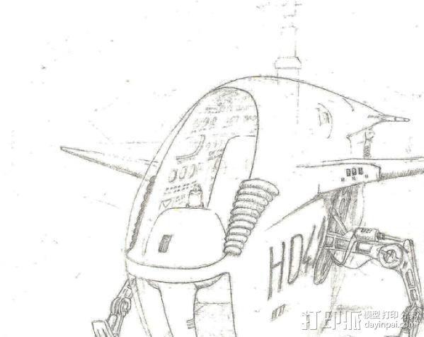 2040未来主义风格飞行器 3D模型  图1