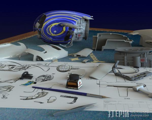 2040未来主义风格飞行器 3D模型  图2
