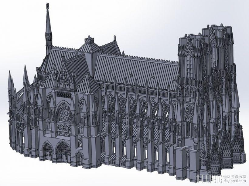 法国兰斯大教堂  3D模型  图1