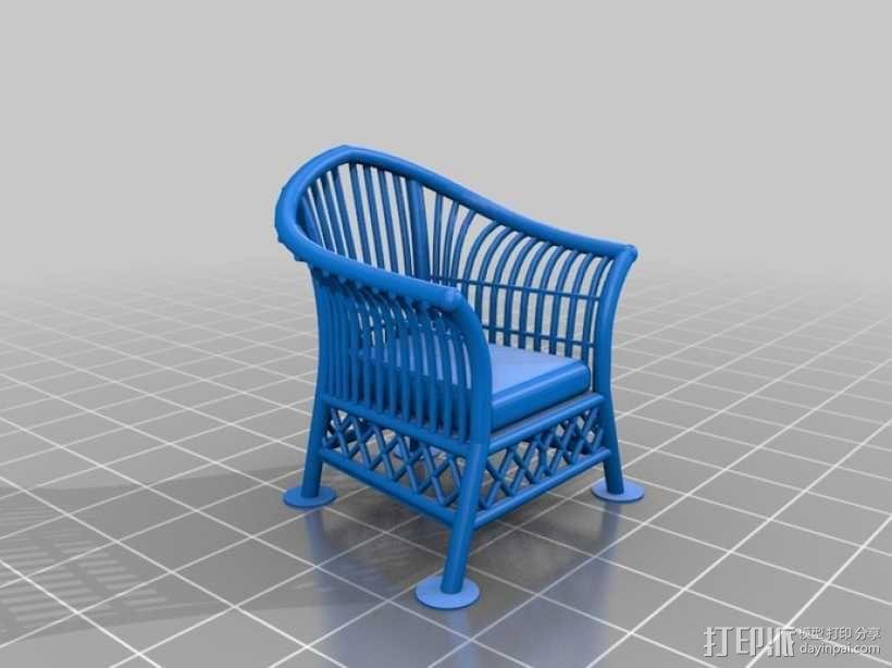 1:24柳条家具套件 3D模型  图2