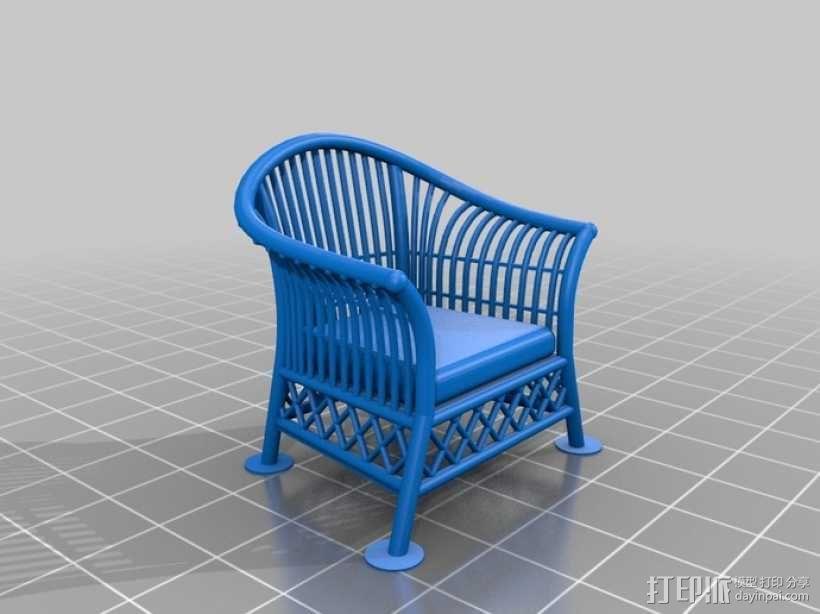 1:24柳条家具套件 3D模型  图3