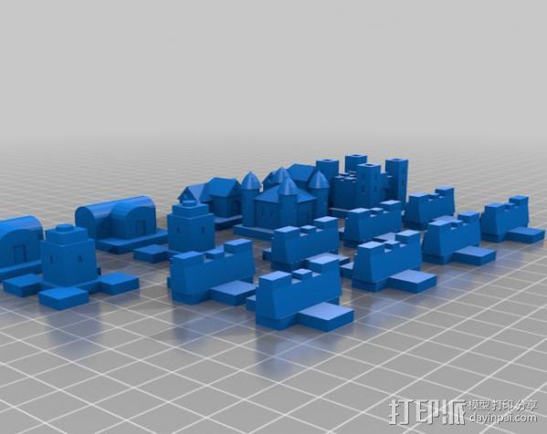 城堡 象棋棋子 3D模型  图2