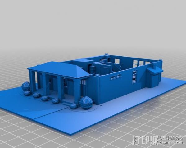 两层小楼 3D模型  图2
