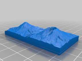 圣海伦火山 地形图 3D模型