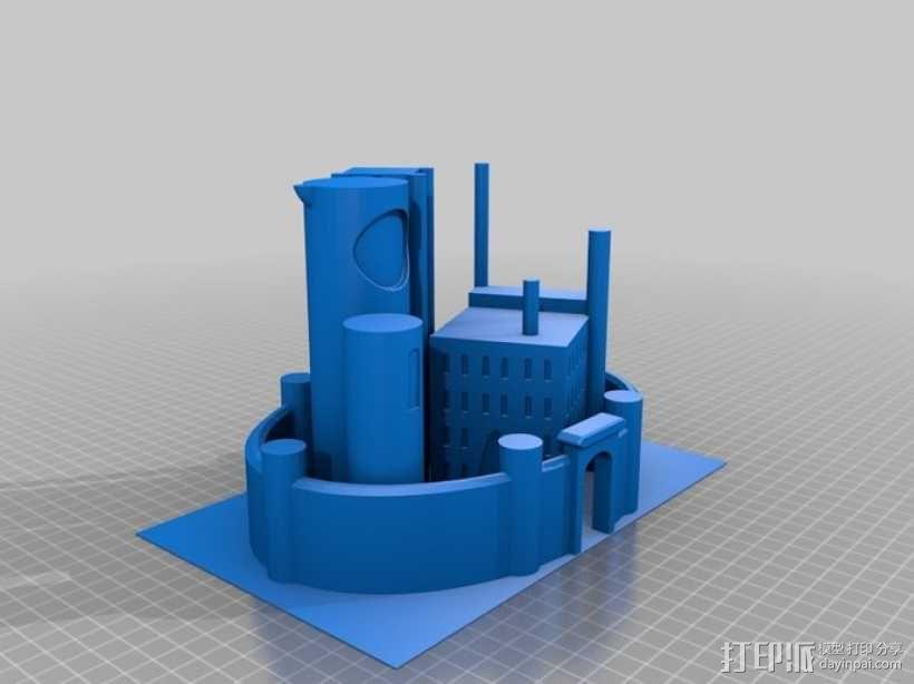 月亮 龙 城堡 3D模型  图1