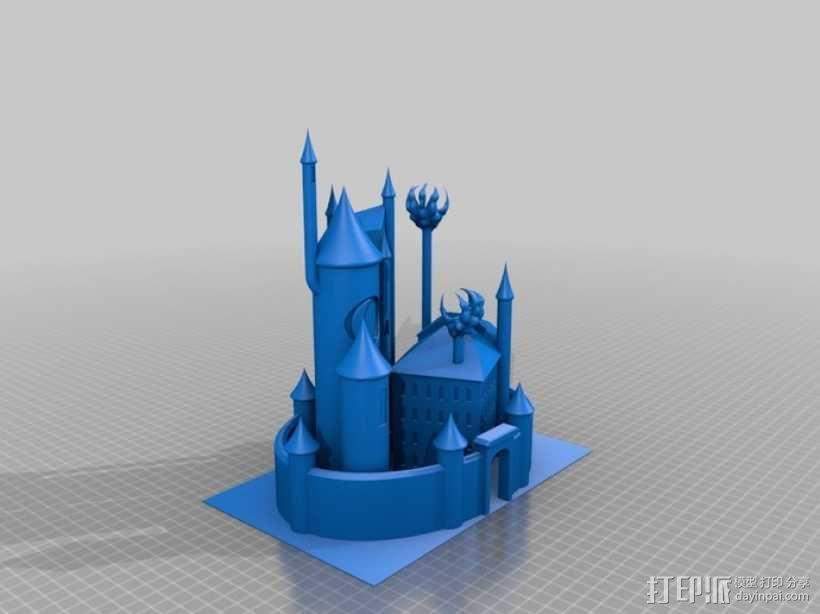 月亮 龙 城堡 3D模型  图5