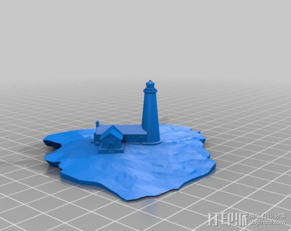 漂浮的灯塔岛  3D模型  图1