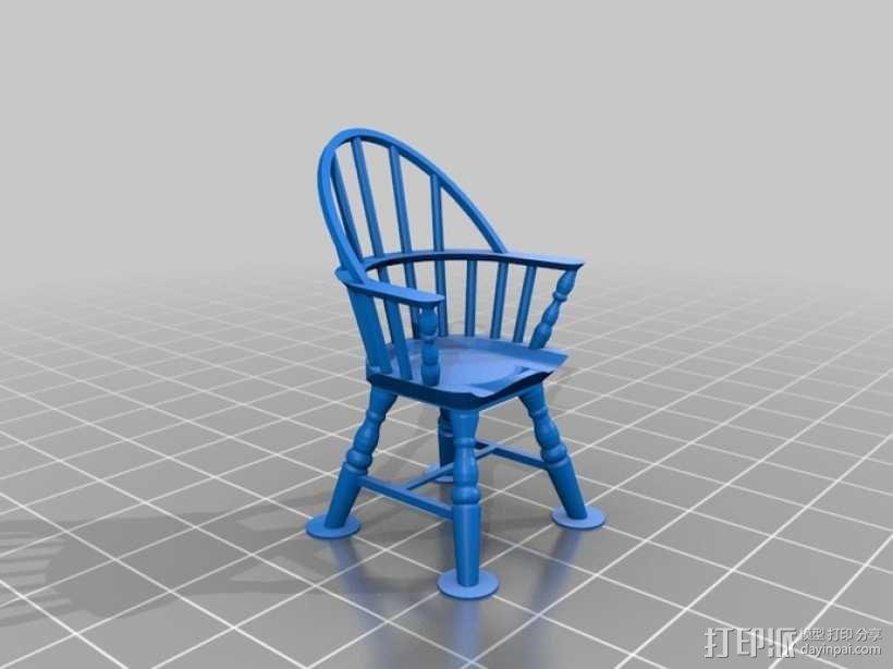 1:24温莎椅 3D模型  图1