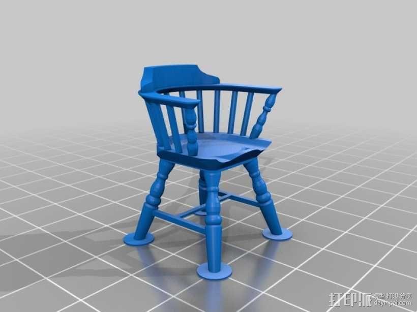 1:24温莎椅 3D模型  图2