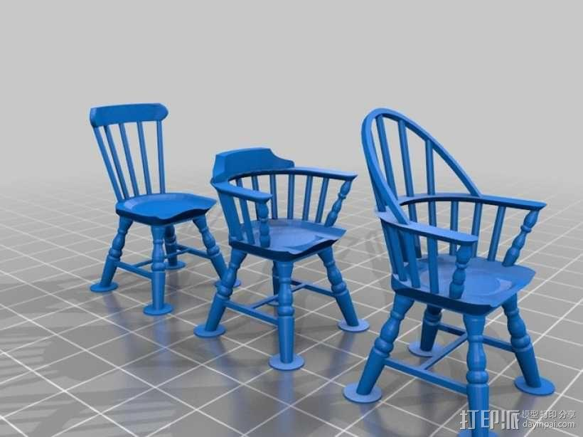 1:24温莎椅 3D模型  图4