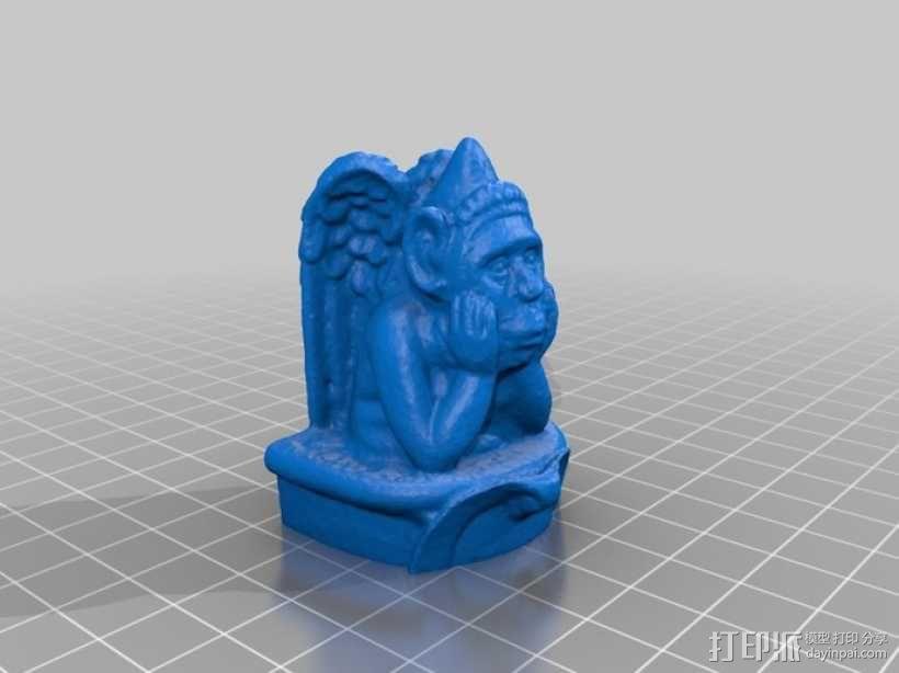 沉思的石像鬼  3D模型  图1