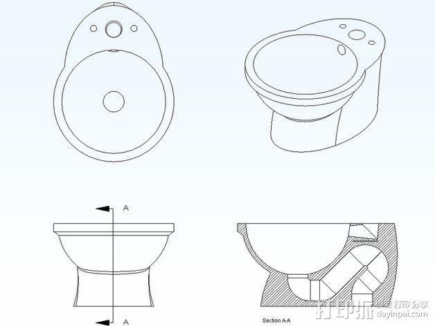 迷你马桶 3D模型  图3