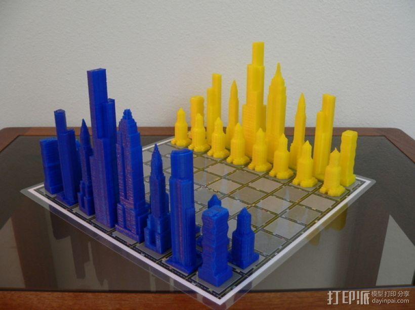 摩天大楼 象棋棋子 3D模型  图1