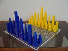 摩天大楼 象棋棋子 3D模型