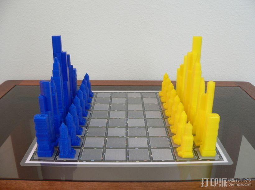 摩天大楼 象棋棋子 3D模型  图2