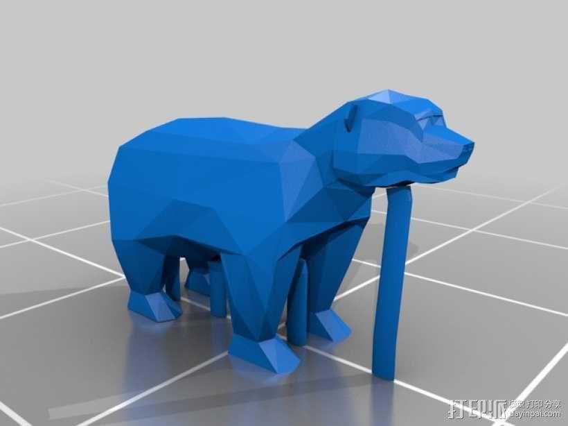 低面数 熊 3D模型  图4