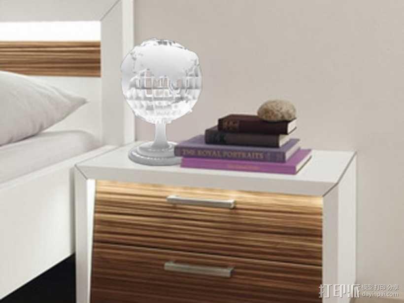 地球 床头灯 3D模型  图2