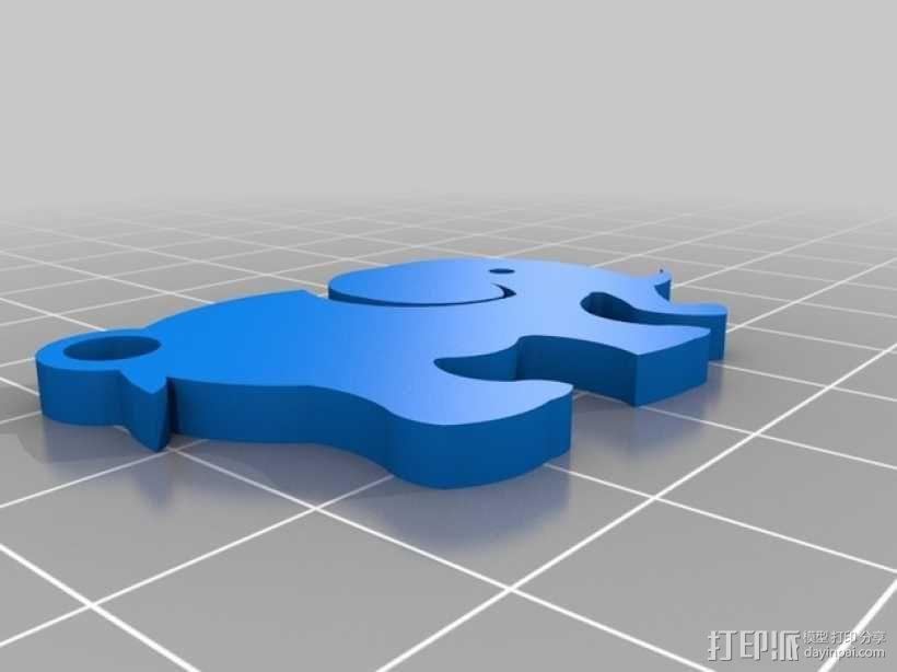 大象 钥匙扣 3D模型  图1