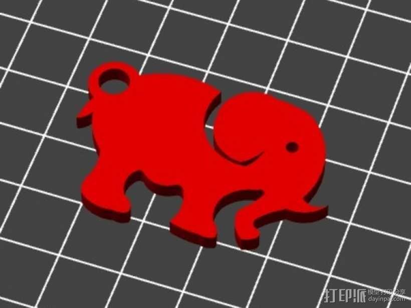 大象 钥匙扣 3D模型  图2