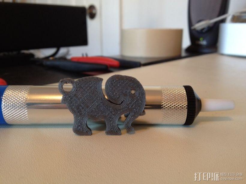 大象 钥匙扣 3D模型  图3