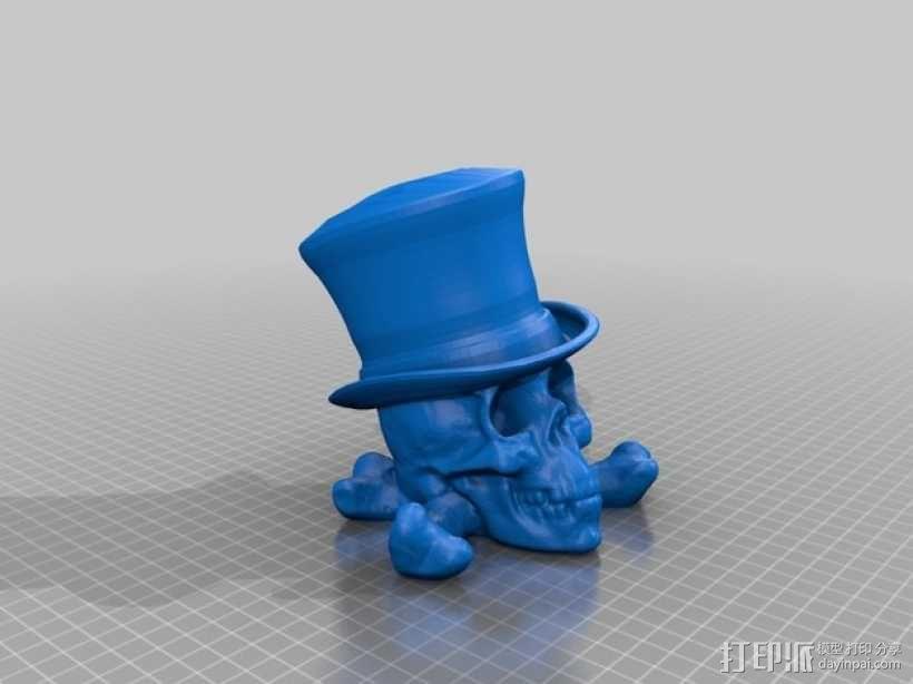 骷髅头 大礼帽 3D模型  图1