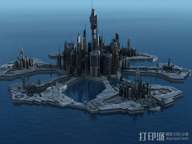 亚特兰蒂斯 都市 3D模型  图1