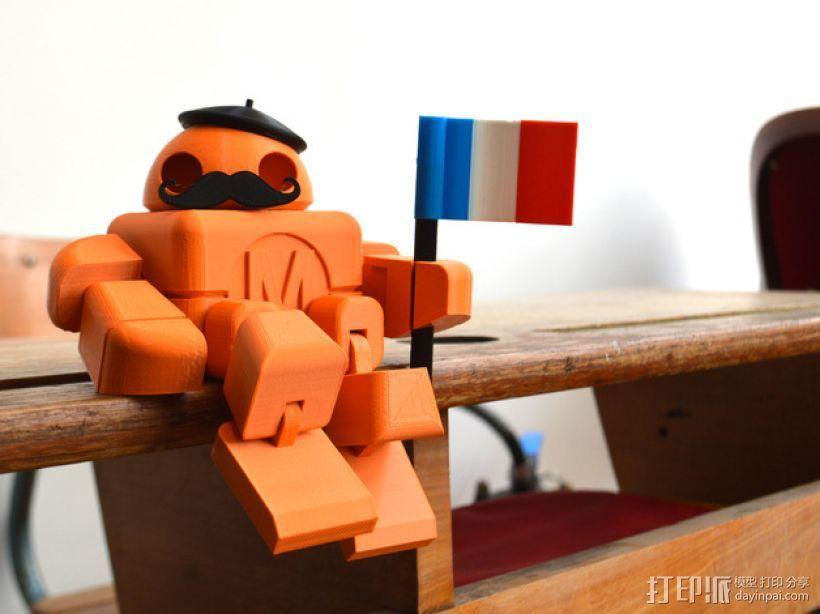 拿国旗的机器人 3D模型  图1