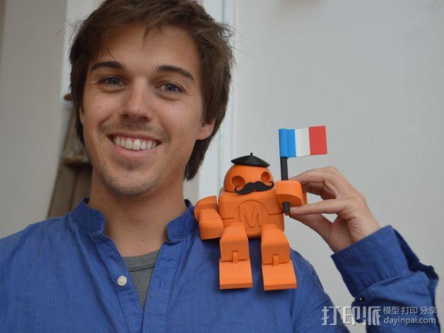 拿国旗的机器人 3D模型  图2