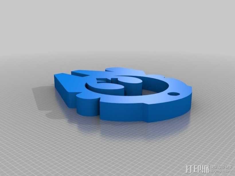 千年隼号飞船标志钥匙扣 3D模型  图2