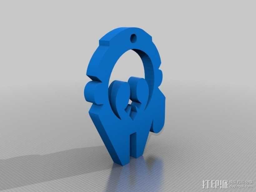 千年隼号飞船标志钥匙扣 3D模型  图1
