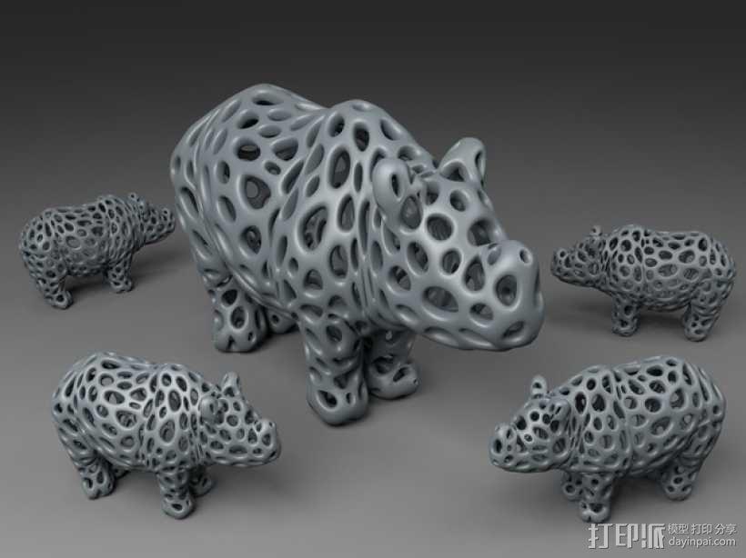 泰森多边形犀牛模型 3D模型  图1