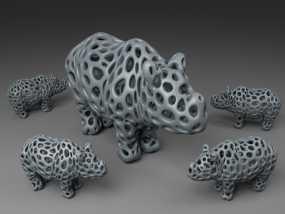 泰森多边形犀牛模型 3D模型