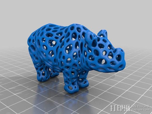 泰森多边形犀牛模型 3D模型  图2