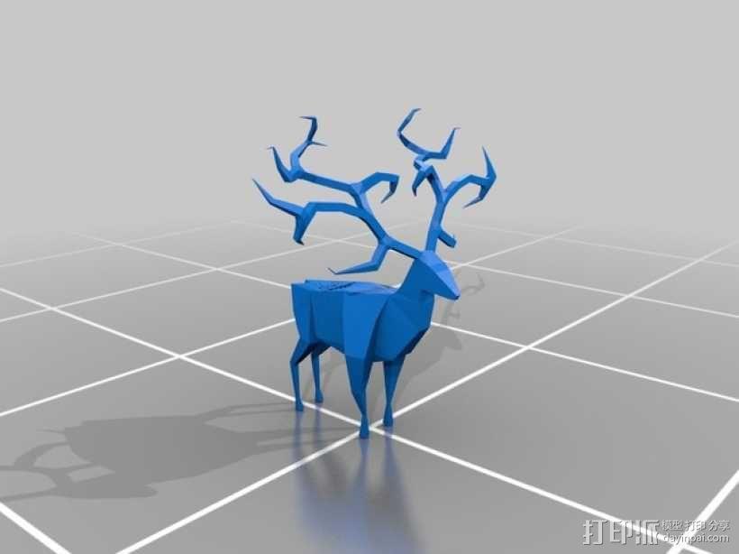 纸折驯鹿 3D模型  图2