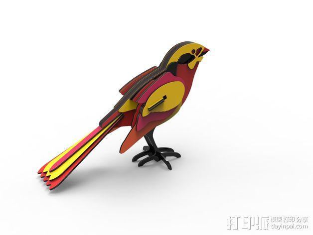 五彩小鸟 3D模型  图2