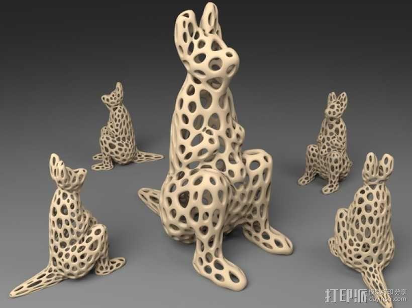 袋鼠 泰森多边形风格 3D模型  图1