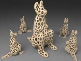 袋鼠 泰森多边形风格 3D模型