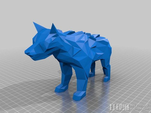低面数冰原狼 3D模型  图2