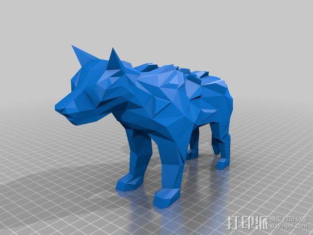 低面数冰原狼 3D模型  图3