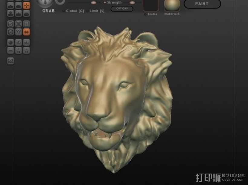 狮子头墙饰 3D模型  图1