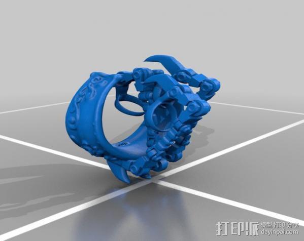 狼爪手链戒指一体手环 3D模型  图2