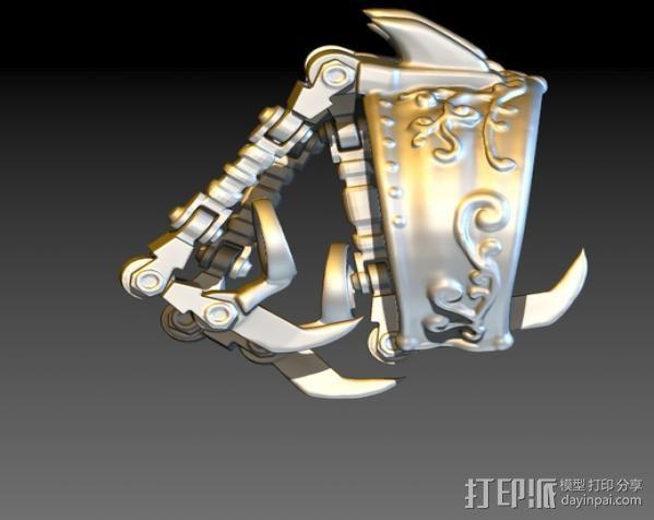 狼爪手链戒指一体手环 3D模型  图3