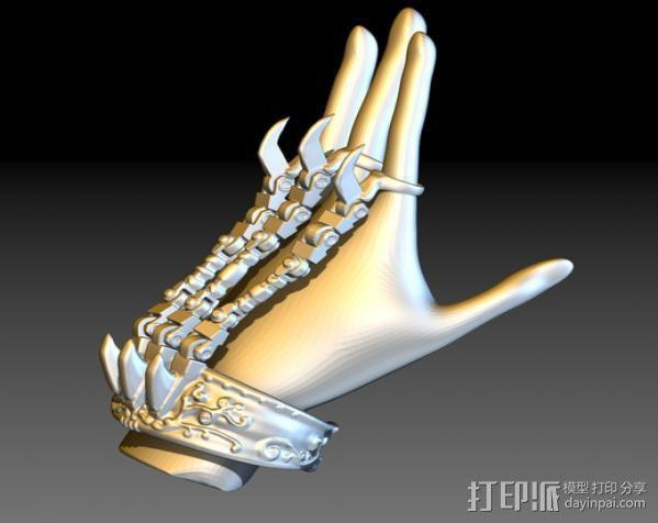 狼爪手链戒指一体手环 3D模型  图6