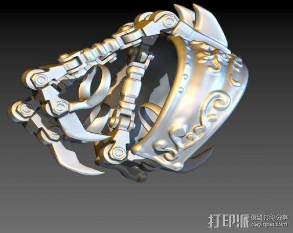 狼爪手链戒指一体手环 3D模型  图4