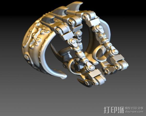 狼爪手链戒指一体手环 3D模型  图5