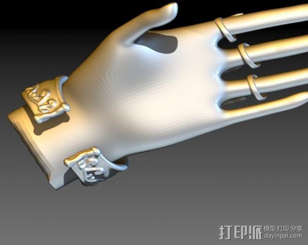 狼爪手链戒指一体手环 3D模型  图7
