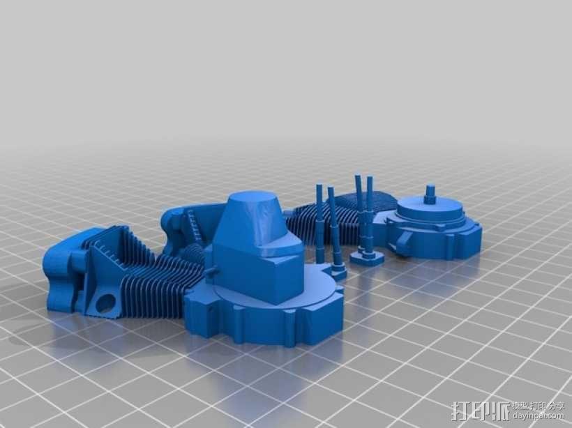 双缸引擎 3D模型  图2
