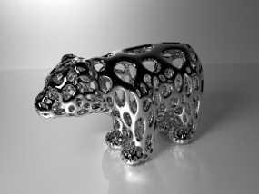 小熊 泰森多边形风格 3D模型