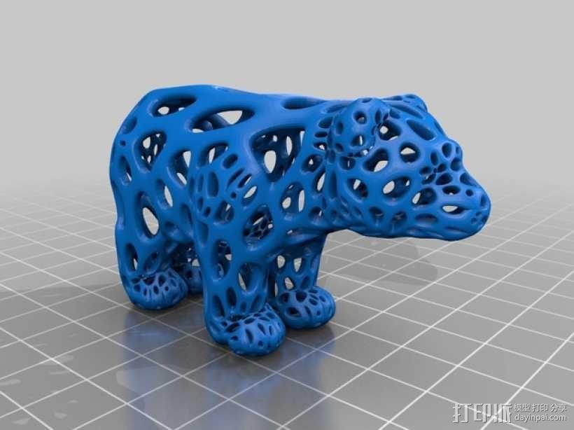 小熊 泰森多边形风格 3D模型  图2